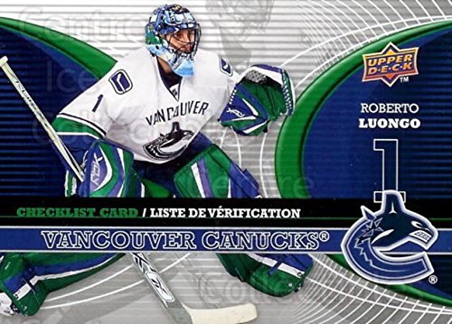 (CI) Roberto Luongo Hockey Card 2008-09 McDonalds Upper Deck Goalie Checklist 6 Roberto Luongo