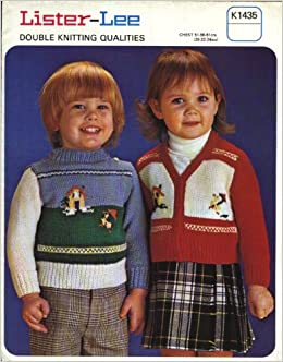847ad9176 LISTER-LEE KNITTING PATTERN 1435   Childrens DK fairisle sweater and  cardigan (20-24in) Pamphlet – 1960