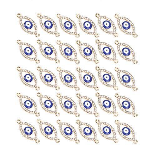 Mystart 30 Pcs 17x10mm Alloy Plastic Evil Eye Connectors Charms Pendants for DIY Bracelet Earrings (Oval Shape)