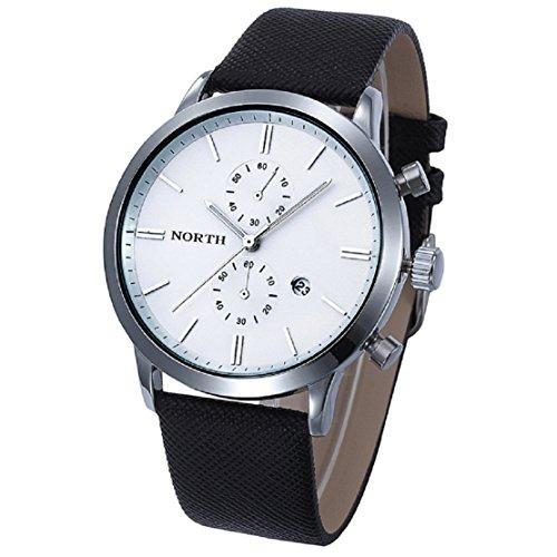 FEITONG Herrenuhr Mode Beiläufige Wasserdichte Leder Band Militär Analoge Quarz Datum Armbanduhr Weiß Neu