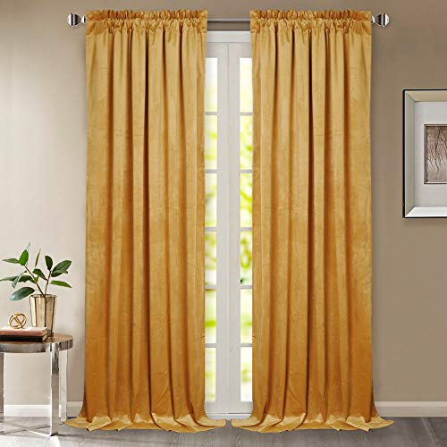 StangH 84-inch Velvet Window Curtains - Holiday Decor Luxury Drapes Light Blocking Sound Reducing Panels for Siding Glass Door/French Door, Warm Yellow, W52 x L84 Inches, 2 Panels (2 Curtains Panels Gold)