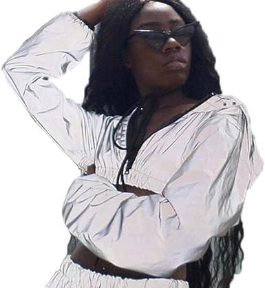 Huateng Mujer Shorts Reflectantes de Plata/Falda Brillante/Camisa ...