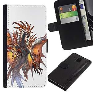 Stuss Case / Funda Carcasa PU de Cuero - White Dragon Fuego Alas Místico - Samsung Galaxy Note 3 III