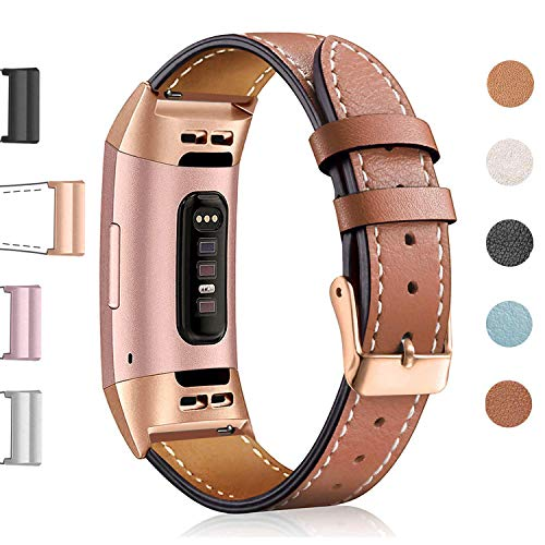 (Hotodeal Leather Band Compatible Fitbit Charge 3 Charge 3 SE, Classic Replacement Genuine Leather Bands Metal Connectors Women Men Small Large Size Silver, Rose Gold, Black)