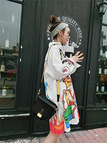 Botón Blanco Chaqueta Parkas Cómodo De Abrigo Cremallera Manga Invierno Battercake Mujer Con Estampadas Graffiti Mujeres Casuales Windbreaker Solapa Larga Anchos wxHFPqUBH