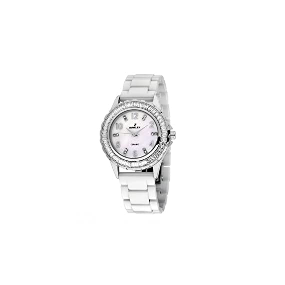 Reloj cerámica pedrería blanca y plateada para mujer Nowley - -movimiento cuarzo - reloj redondo - Pulsera cerámica blanco - Garantía 2 Años: Amazon.es: ...
