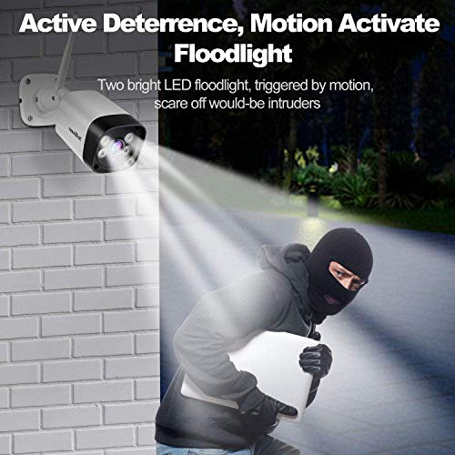 Security Camera Outdoor 2K,IP Cam Wi-Fi Wireless Bullet Camera with Floodlight,Night Vision,2-Way Audio,Motion Detection,Alarm Alert,IP66 Waterproof