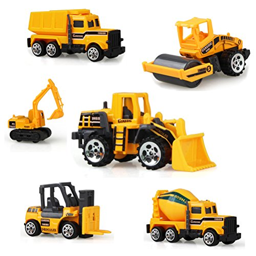 Vankcp Sand Toys Set 6 Pcs Assorted Construction Vehicles Trucks Sandbox Toys Mini Forklift Bulldozer Cement Car Excavator Dump Truck Tanker Engineering Car Toy Playset for Kids Over 3 Years Old