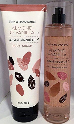 Bath and Body Works  Almond Vanilla Mist and Cream Set Original Naturals Line White Packaging 8 Ounce Each (White Bath Almond)