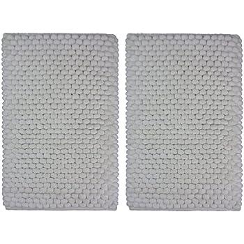 Amazon Com Cotton Craft 2 Piece Popcorn Loop Bath Mat