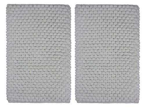 Cotton Craft - 2 Piece Bath Rug Set-Popcorn Loop with Spray Latex Backing- White - Absorbent - Super Soft and Plush - Hand Tufted Heavy Weight Construction - Size -17x24 Each