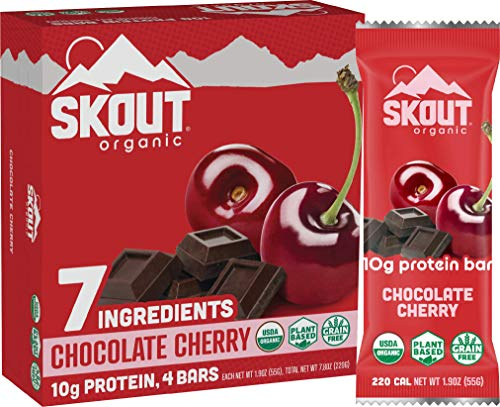Skout Organic Chocolate Cherry Organic Protein Bars 4 Pack 10g Plant-Based Protein per Bar Paleo Snacks Vegan Protein Bars Gluten, Dairy, Grain, Peanut, Tree Nut Soy Free
