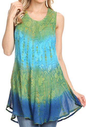 (Sakkas 40831 Ombre Floral Tie Dye Flared Hem Sleeveless Tunic Blouse - Green/One Size)