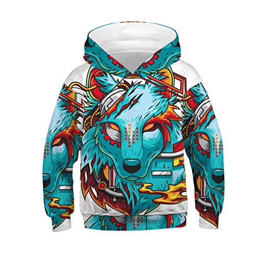 Polyester Harness Pullover - Jshuang Unisex Harajuku Realistic 3D Digital Wolf Print Pullover Hoodie Hooded Sweatshirt