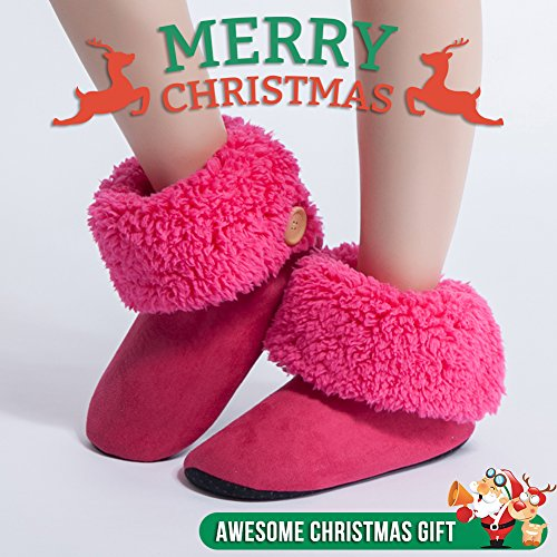 ... Maamgic Kvinners Fuzzy Jule Huset Tøfler Damene Søt Soverom Innendørs  Vinter Myke Tøfler Hot Pink ...