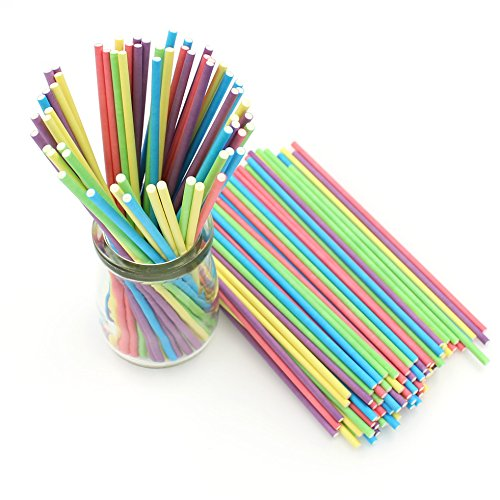 Zicome 150 Count Colored Lollipop Sticks, 6-Inch