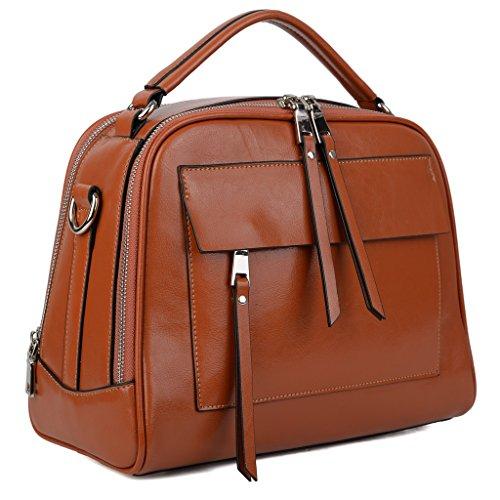 YALUXE Women's Cute Handy Leather Handbag Small Purse Shoulder Bag Brown Tan