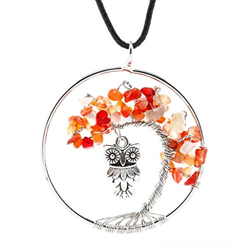 Western Costumes Company Ruby Slippers (Natural Topaz Tree Pendant Necklace - Owl)