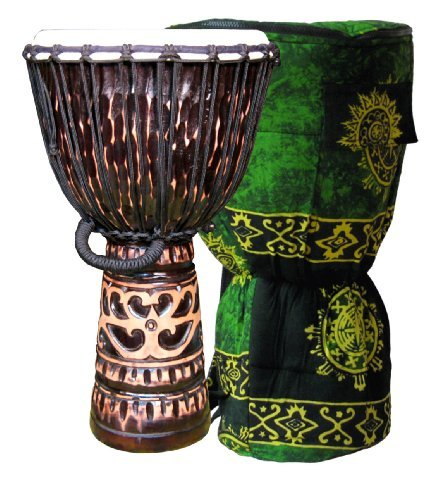 Deep-Carved Chocolate Djembe w/ Free Bag 24'' x 12'' by Mother Rhythm Drums (Image #1)