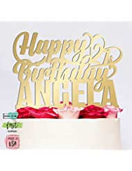 Amazing Items Personalized Birthday Cake Topper Customized Age and Name 4 Color Type and 23 Colors Design 13 (Mirror Colors)