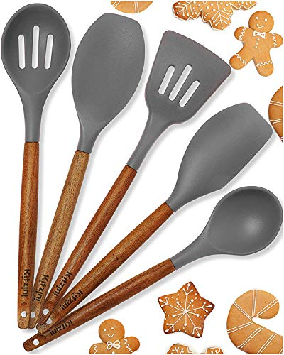 Silicone Cooking Utensils Non Stick- For All Your Cooking And Serving Needs - Stylish Multipurpose Kitchen Utensil Set with Comfortable Acacia Wooden Handles and Silicone Heads In Canvas Bag (Grey)