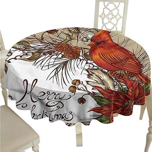 (ScottDecor Table Cover Cardinal,Poinsettia and Pine Cones Outdoor Picnics Round Tablecloth D 54