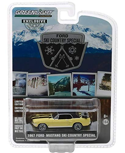 - 1967 Ford Mustang Coupe Yellow with Black Stripes and a Pair of Skis Ski Country Special Hobby Exclusive 1/64 Diecast Model Car by Greenlight 30007