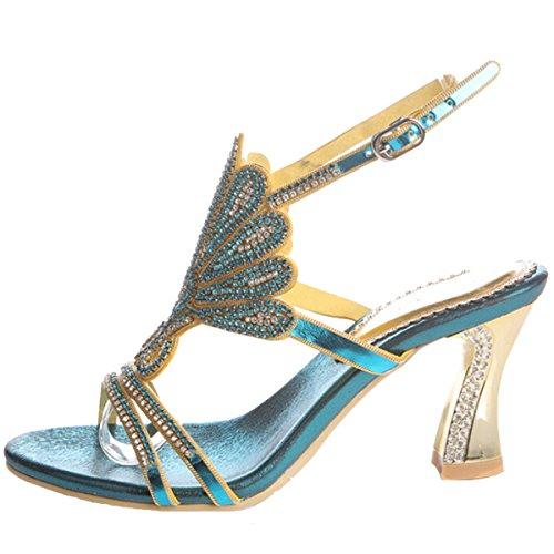 Win8Fong - Sandalias de vestir para mujer Azul azul Blue # 3