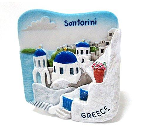 Santorini Greece Souvenir Fridge Magnet Toy Set 3D Resin Collection ()