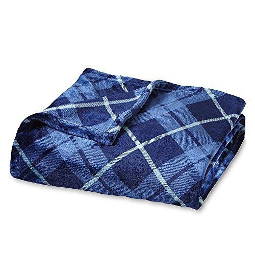 Soft Velvet Plush Blue Plaid Embossed Throw Blanket Large Oversize Snuggle Lounge Wrap Cover