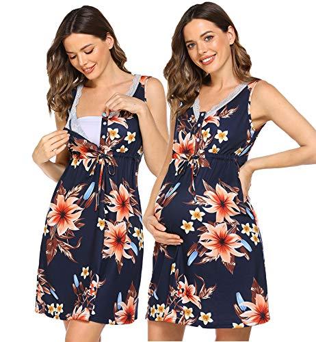 Ekouaer Women's Maternity Sleepwear Nursing Nightgown Labor/Delivery Hospital Gown Sleeveless Breastfeeding Dress
