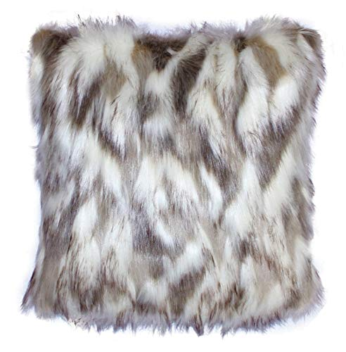 Faux Fur Pillow Cover Tibetan Sand Fox Ivory Beige 18 X18 in - Set of 2