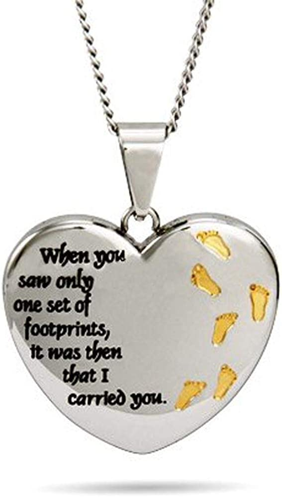 Eves Addiction Footprints in The Sand Heart Pendant