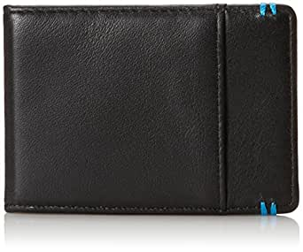 Lodis Leather RFOB Bi-Fold Money Clip Wallet (Black & Robin's Egg Blue)