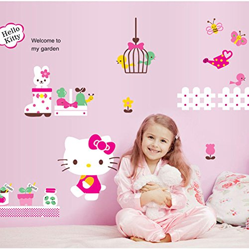 Amazon Cute Cartoon Hello Kitty Wallpaper Childrens Room Stickers Sweet Home Decorated Sticker Waterproof Wall Poster Bedroom Bedside Backdrop