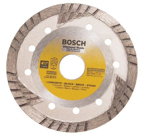Bosch DB4563 Premium Plus 4-1/2-Inch Dry Cutting Turbo Continuous Rim Diamond Saw Blade with 7/8-Inch Arbor for Masonry (Plus Diamond Blade Premium)