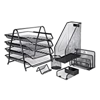 Mesh Office Desk Accessories Organizer Set - 6 Pieces
