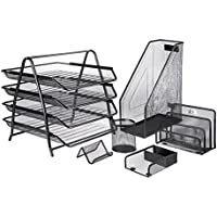 Mesh Office Desk Accessories Organizer Set - 6 Pieces