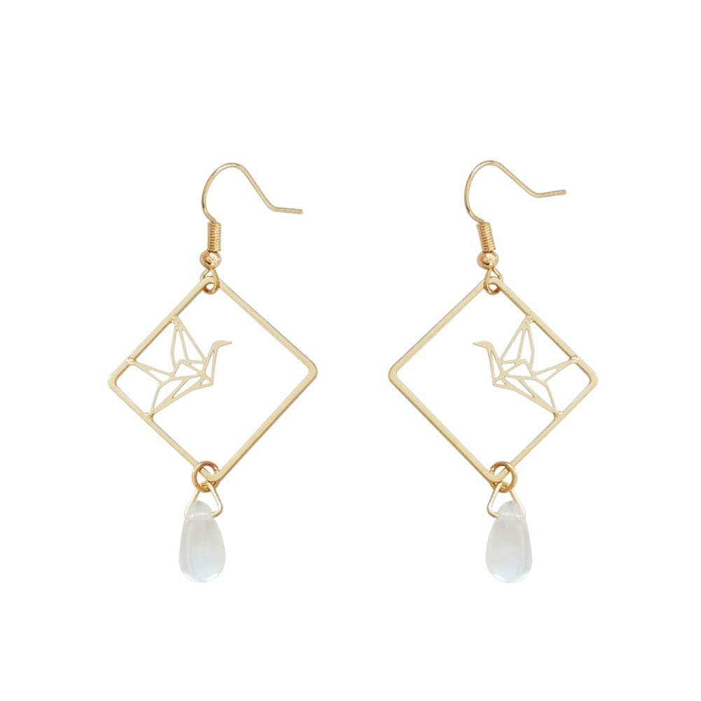 18K Gold Plated Simple Hollow Out Paper Cranes Water Droplets Pendant Dangle Hook Earrings For Women Girls by FURONGWANG (Image #1)