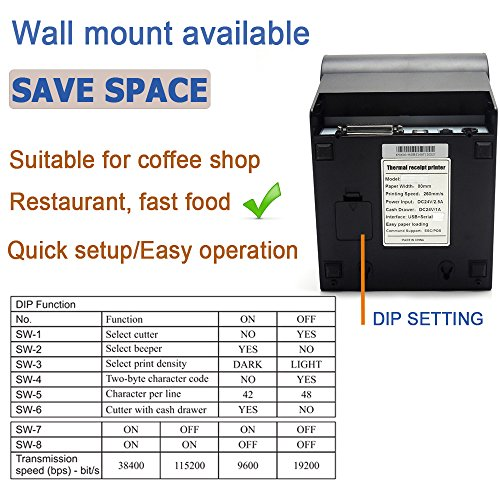 3'1/8 80mm Thermal Receipt Printer, MUNBYN POS Printer with Auto Cutter,  USB Serial Ethernet Windows Mac Driver ESC/POS RJ11 RJ12 Cash Drawer