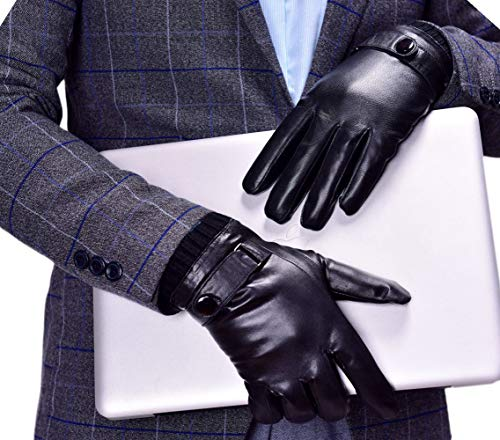 YISEVEN Men's Touchscreen Lambskin Leather Gloves Snug Cuffs Genuine Luxury and Warm Hand Heated Fleece Fur Lined for Dress Driving Motorcycle Work Gifts, Black ()