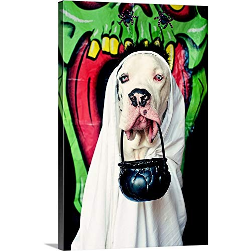 Premium Thick-Wrap Canvas Wall Art Print Entitled Great Dane Wearing a Ghost Costume, Carrying a Halloween Bucket 12