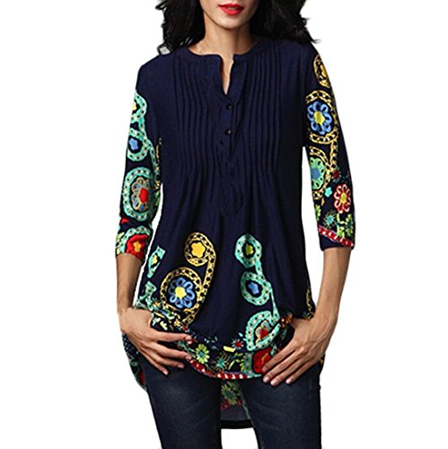 GOVOW Womens 3/4 Sleeve Roundneck Floral Tunic Tops Loose Blouse Button up Shirts (Sales Apparel Wrap Pleated)