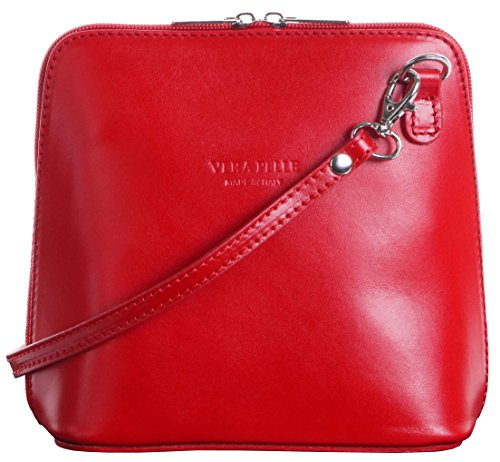 Italian Leather, Red Small/Micro Cross Body Bag or Shoulder Bag Handbag. Includes Branded a Protective Storage - Baguette Bag Leather