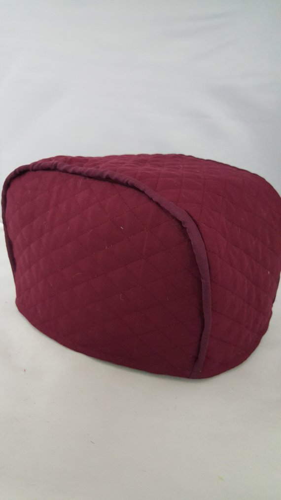 """2 Slice Toaster Cover (11""""x6.5""""x7.5"""") / Quilted Double Faced Cotton, Burgundy"""