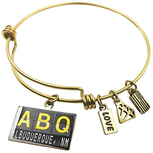 Expandable Wire Bangle BraceletABQ Airport Code for Albuquerque, NM, - Shops Airport Albuquerque