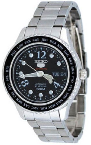 Seiko 5 Black Dial Stainless Steel World Cities Ladies Watch SRP367 -