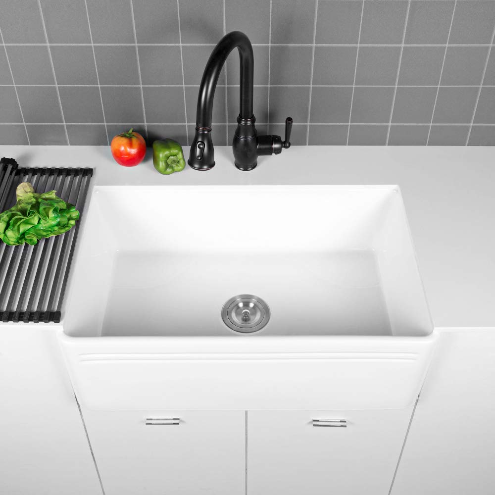 Sarlai 30'' Farmhouse Kitchen Sink White Porcelain Vitreous, SUC3018R1 Fireclay Single Bowl Kitchen Sink by Sarlai (Image #6)
