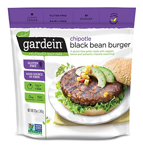 Gardein Chipotle Black Bean Burger Meatless Protein Packed Patties, Gluten Free, Ready in 8 Minutes, Non-GMO Project Verified, 4 Pack (Frozen) ()