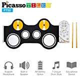 PicassoTiles PT50 Flexible Roll-Up Educational Electronic Digital Music Drum Kit w/Recording Feature, 7 Different Drum Styles, 9 Different Rhythm Sondg, Headphone/Speaker Modes- Blue